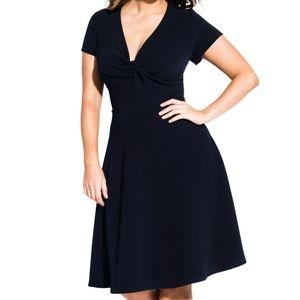 Navy Plunge Dress